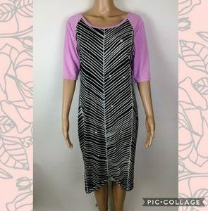 LuLaRoe black purple white dress size L
